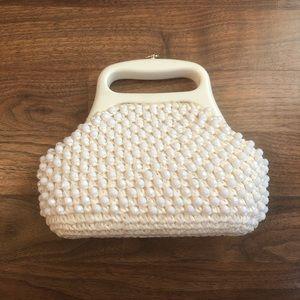 Vintage Gaymode Italy White Beaded Crochet Purse